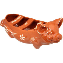 "Portuguese Traditional Sausage Roaster in Glazed Terracotta Clay ""HAPPY PIG"""