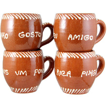 Set of 4 Traditional Portuguese Hand Painted Vintage Clay Terracotta Mug