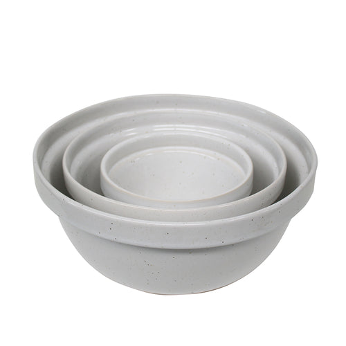 Casafina Fattoria Stoneware Ceramic Set of 3 White Mixing Bowls