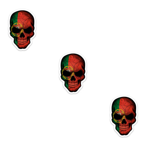 Die Cut Skull Sticker With Portuguese Flag - Set of 3