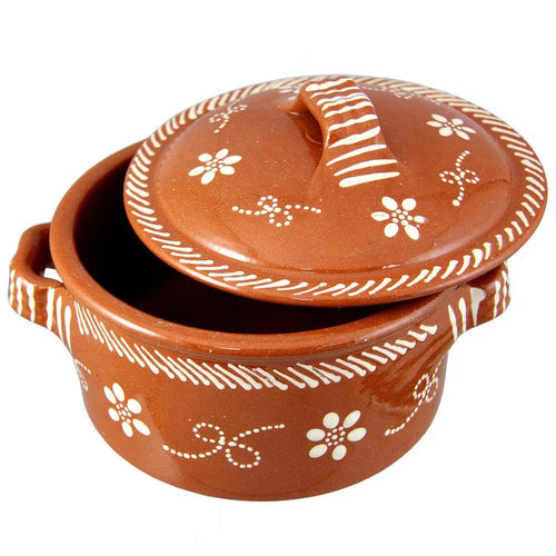 Traditional Portuguese Hand-Painted Vintage Clay Terracotta Cazuela Pot With Lid Cooking