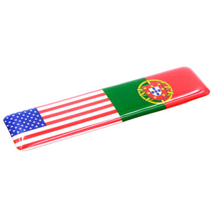 American and Portuguese Flag Resin Domed 3D Decal Car Sticker - Set of 3