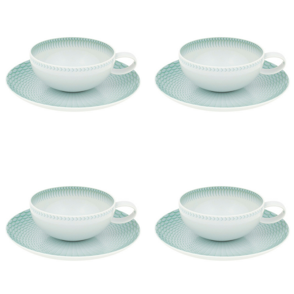 Vista Alegre Venezia Porcelain Tea Cup & Saucer Set of 4