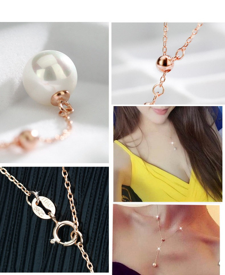 Pearl Pendant Necklace 18K Rose Gold Plated