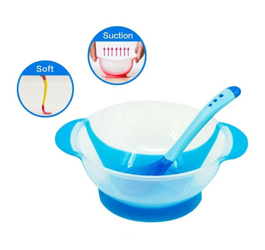 3Pcs Suction Bowl with Temperature Sensing Spoon