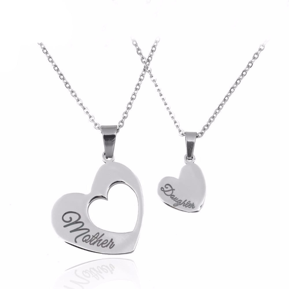 Double Heart necklace Mother Daughter