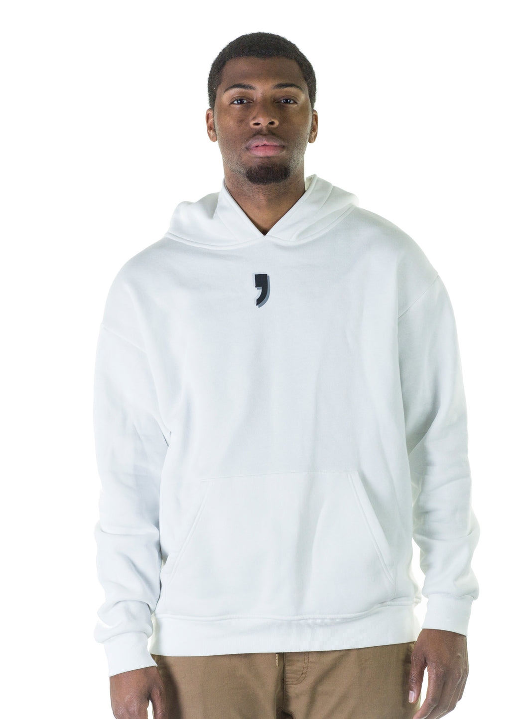Hoodie on Man White