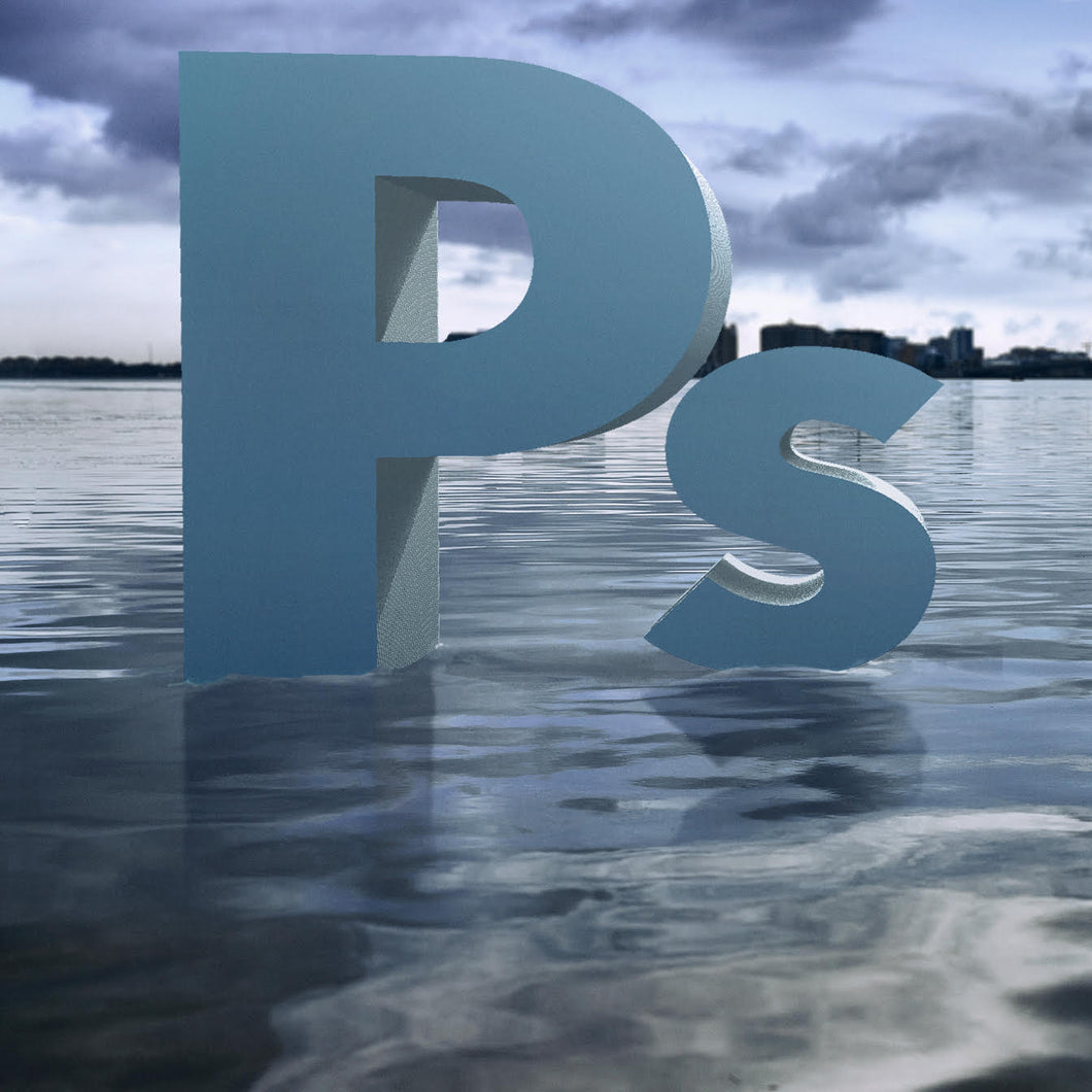 Digital composite image of the Adobe Photoshop logo on the Sarasota Bay. Image by Jeffrey Paul Gunthart.
