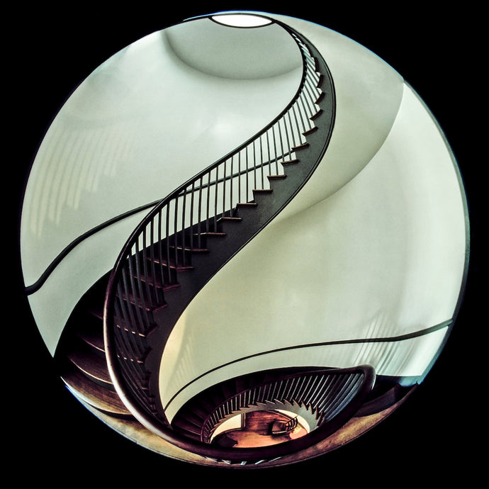Spiral staircase in optical fisheye lens. Image by Wayne Eastep from Sarasota, Florida.