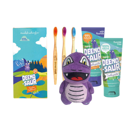 DEENO-SAUR Bamboo Eco Box - Kids Oral Starter Kit 2+yrs