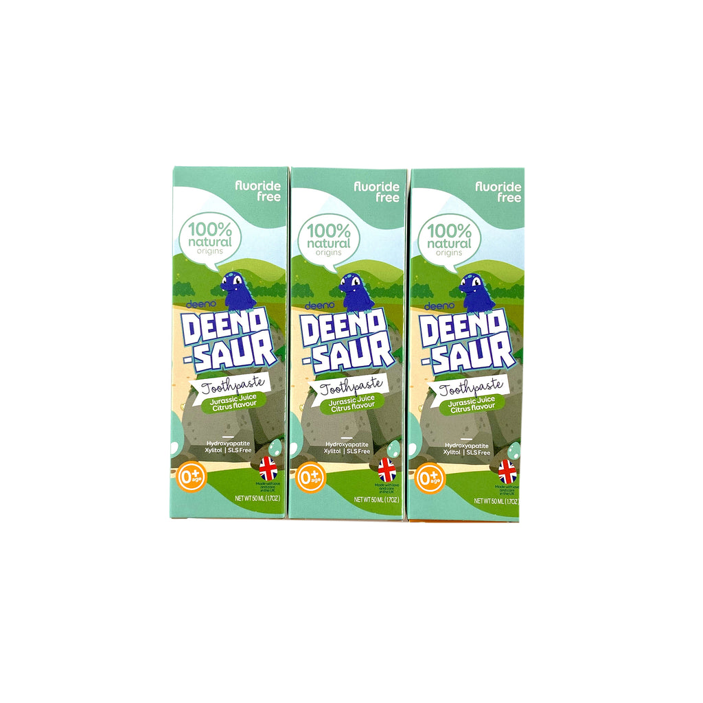 DEENO-SAUR Natural Toothpaste Fluoride-Free Age 0+ Years - 3pk
