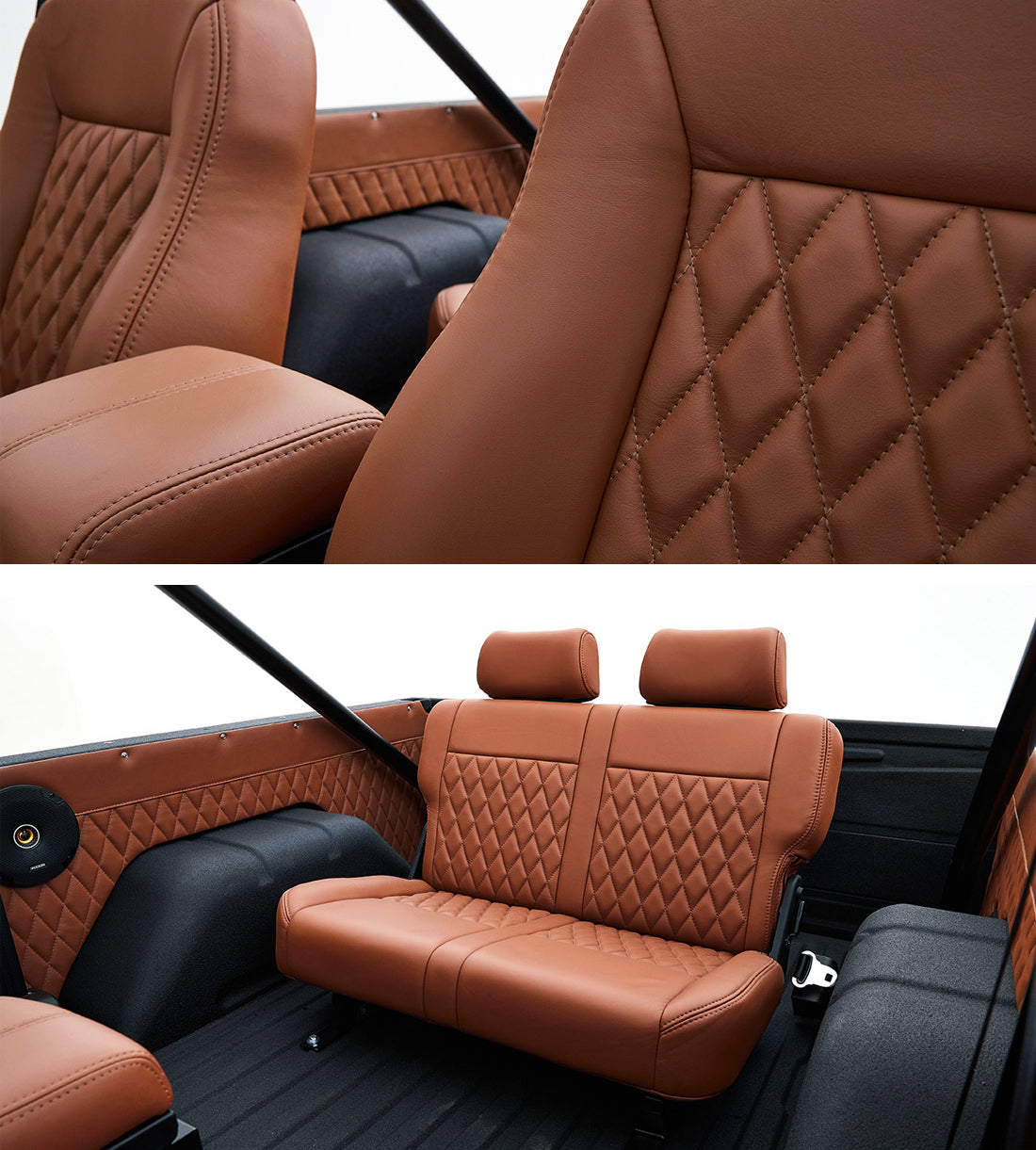 Classic_Ford_Bronco_Relicate_Nappa_Italia_Emberglow_Leather diamond stitch bench seat