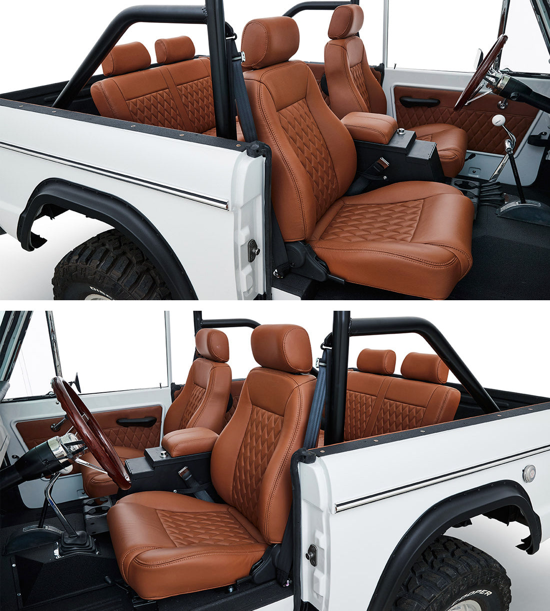 Classic_Ford_Bronco_Relicate_Nappa_Italia_Emberglow_Leather interior bucket seats