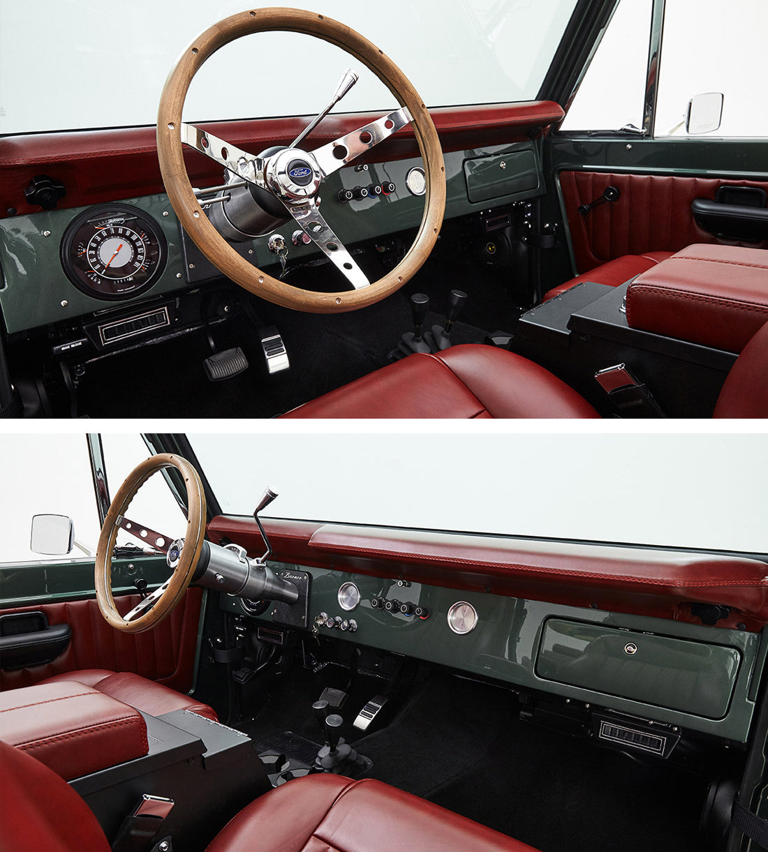 Classic Ford Broncos with Relicate Antiqued Redwood Leather Interior dash