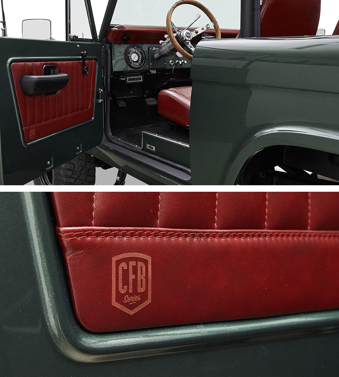 Classic Ford Broncos with Relicate Antiqued Redwood Leather Interior door panel