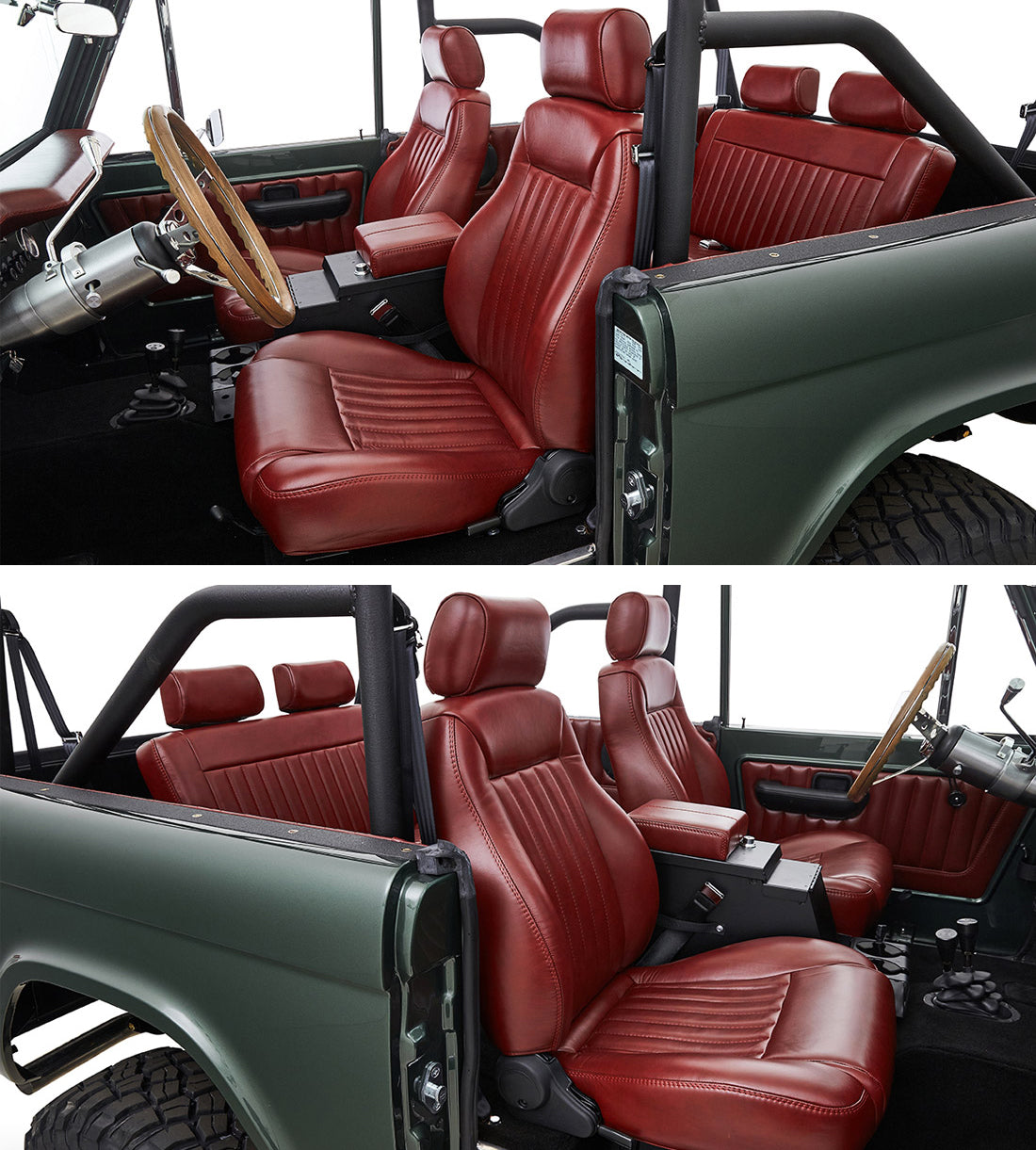 Classic Ford Broncos with Relicate Antiqued Redwood Leather Interior Seats
