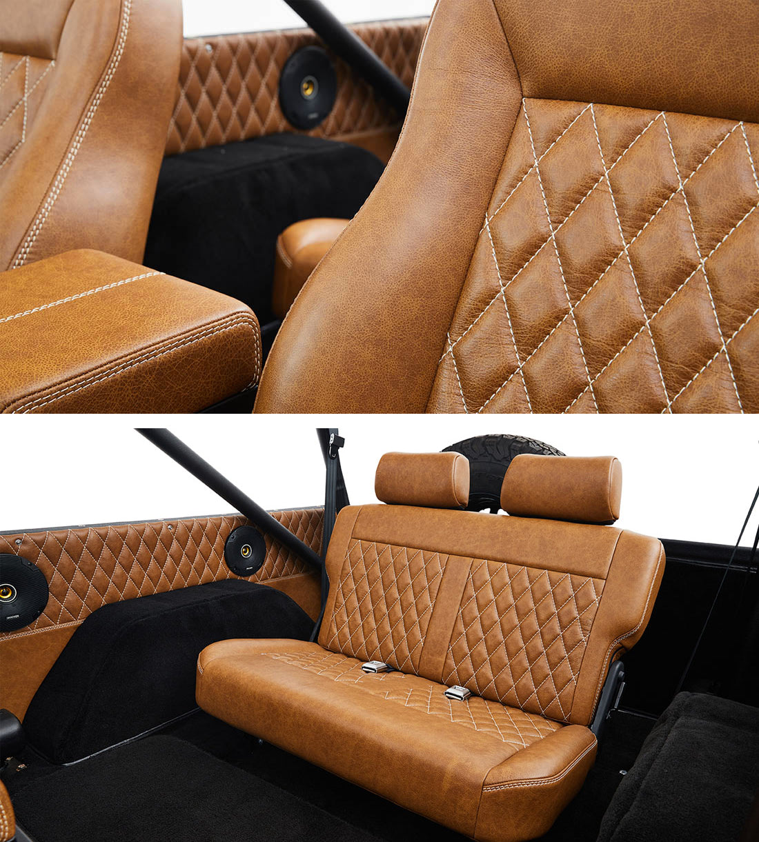Classic Ford Broncos Relicate Distressed Leather Interior with Diamond Stitched Bench Seat