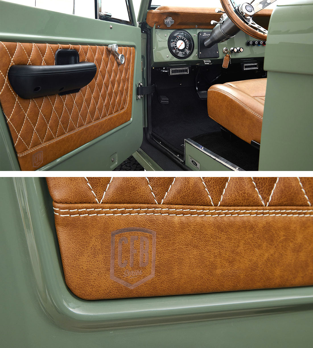 Classic Ford Broncos Relicate Distressed Leather Interior with Diamond Stitched Door Panel