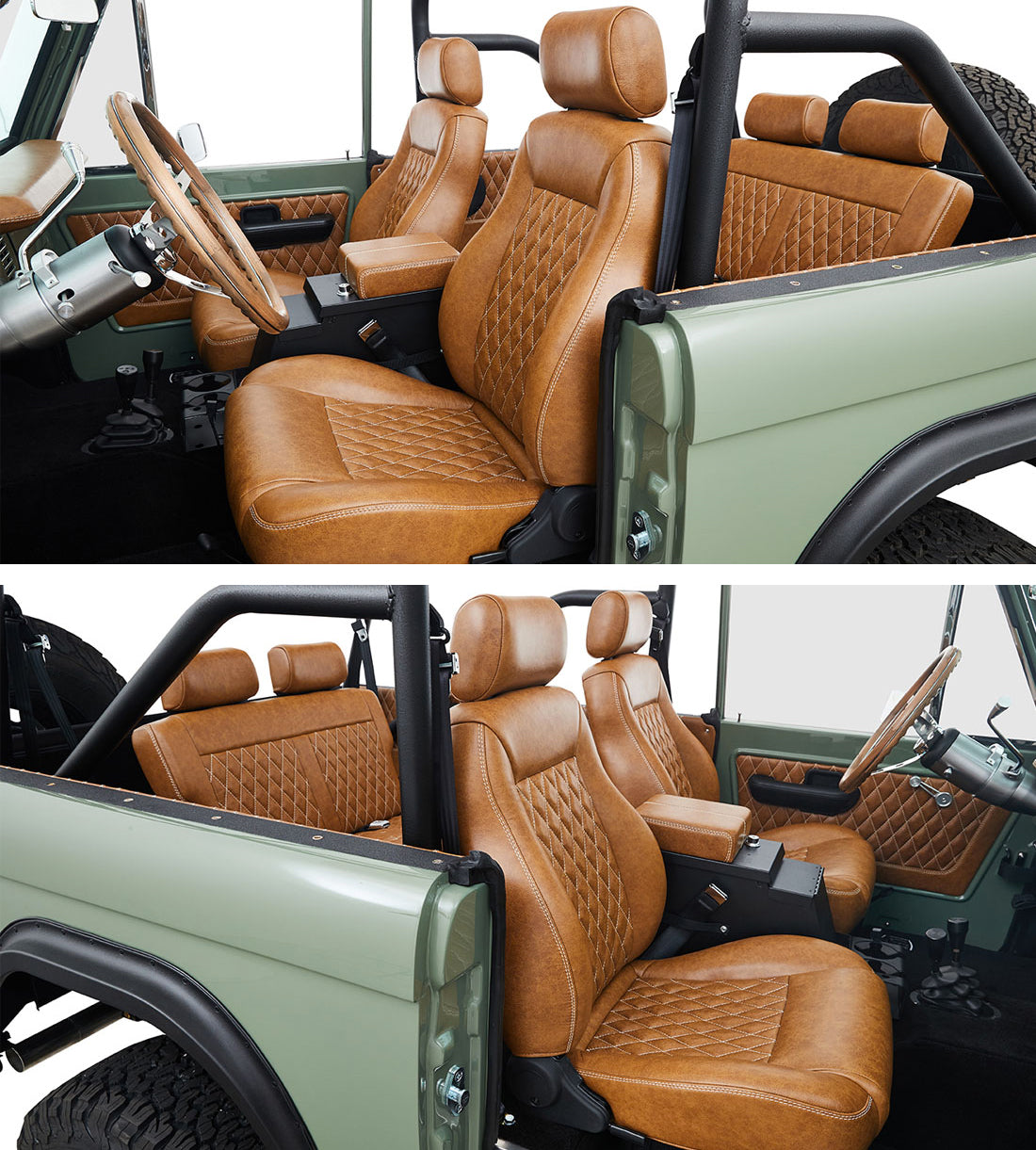 Classic Ford Broncos Relicate Distressed Leather Interior with Diamond Stitched Seats