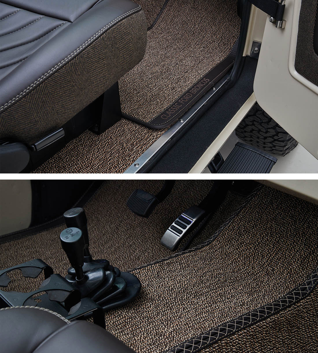 Classic Ford Broncos with Relicate German Square Weave Carpet Honey Brown