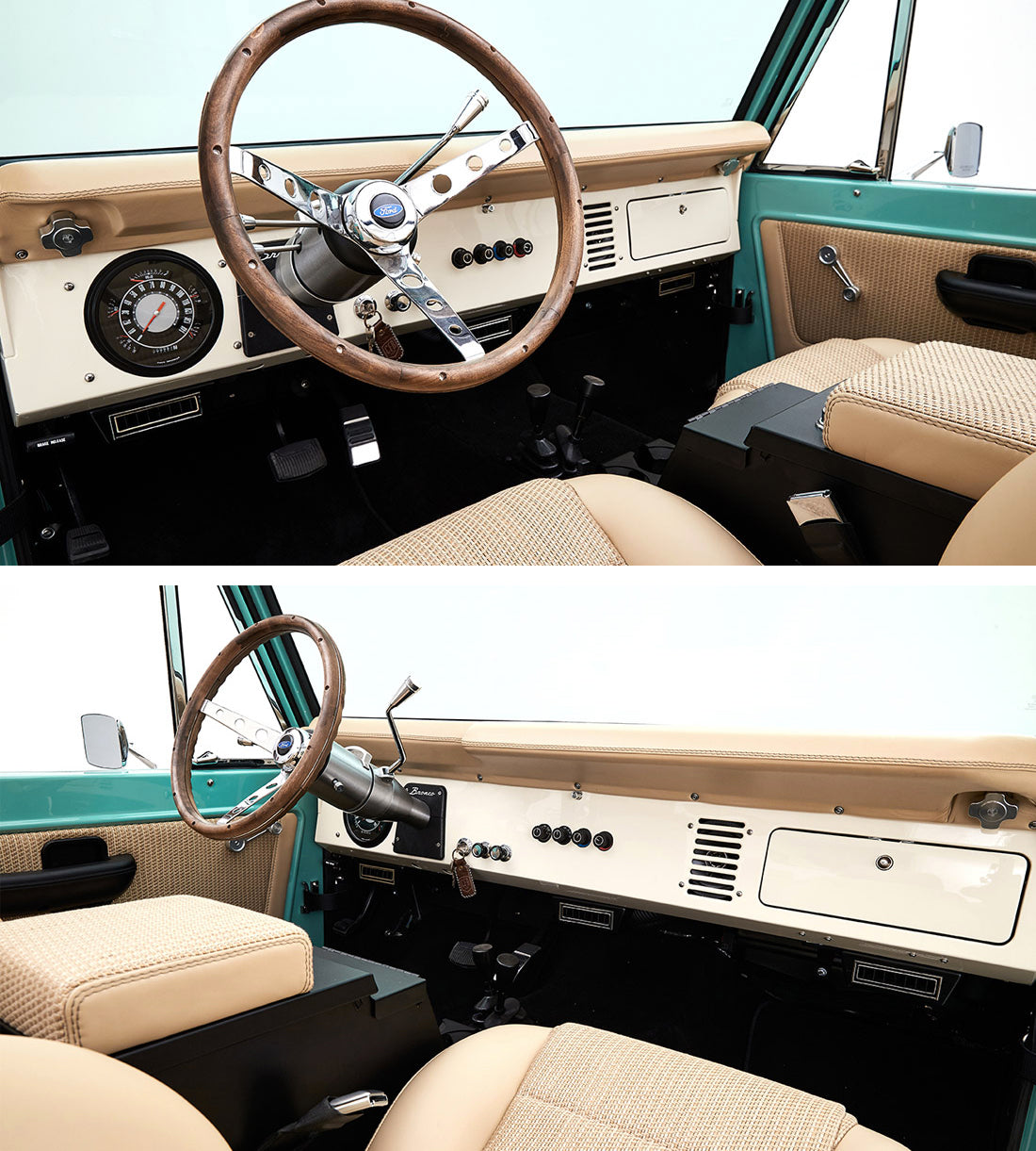 Classic Ford Broncos with Relicate Woven Leather Interior Seats Dash steering wheel