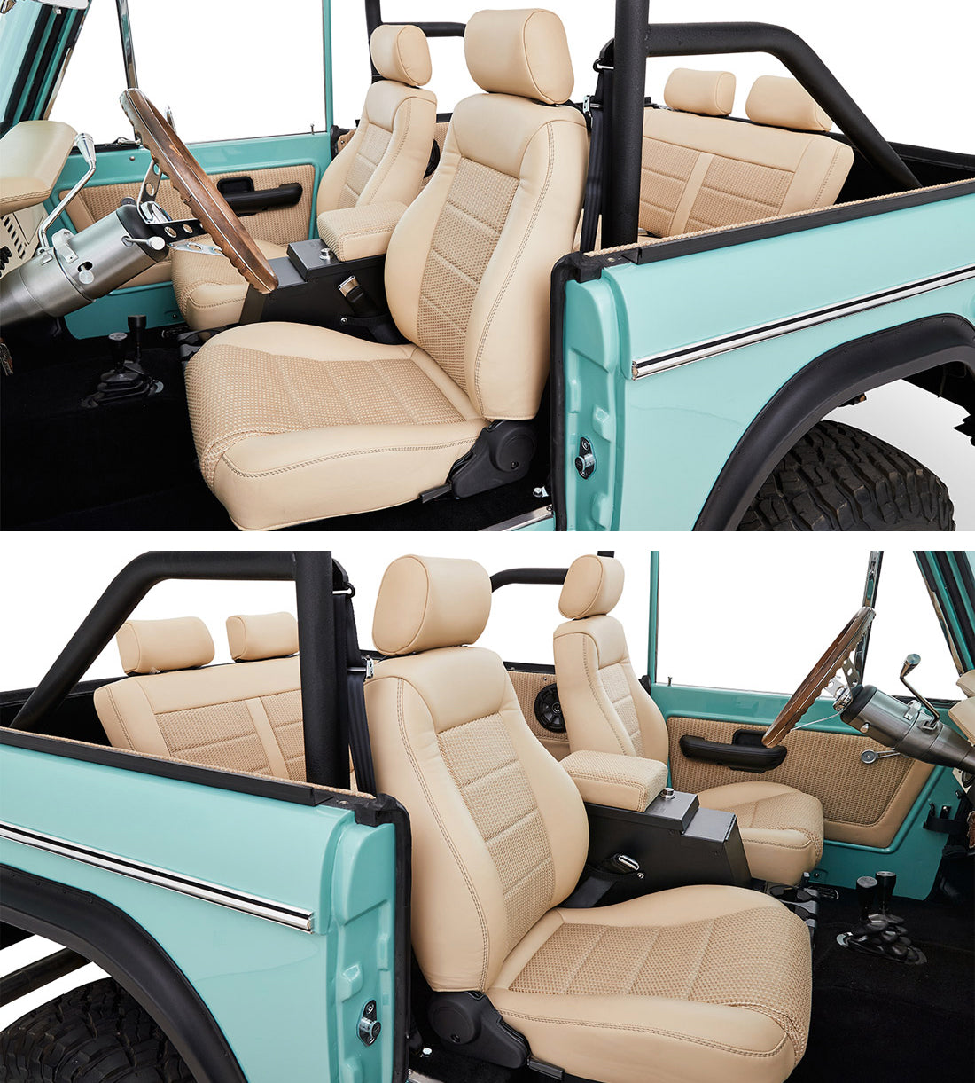 Classic Ford Broncos with Relicate Woven Leather Interior Seats