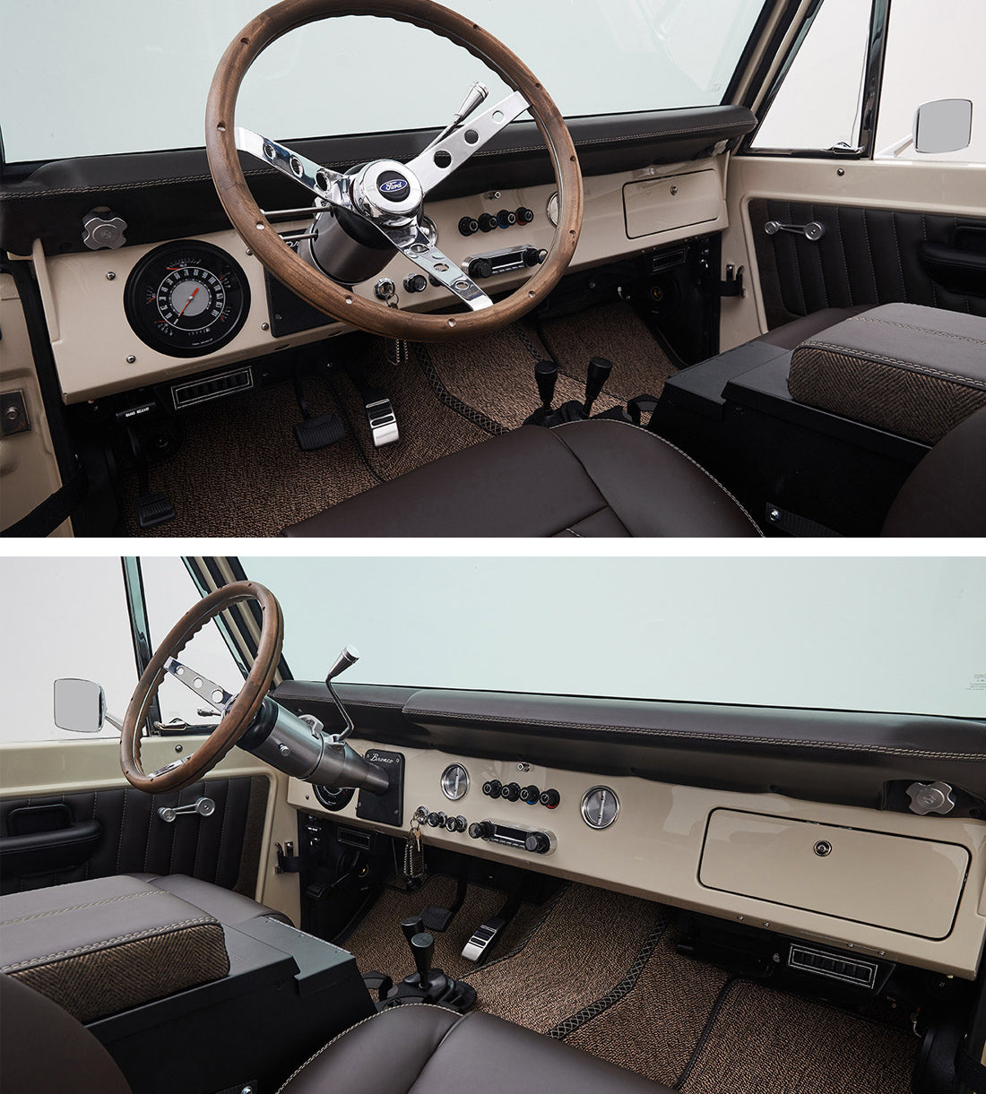 Classic Ford Broncos with Relicate Leather Interior Dash Steering Wheel