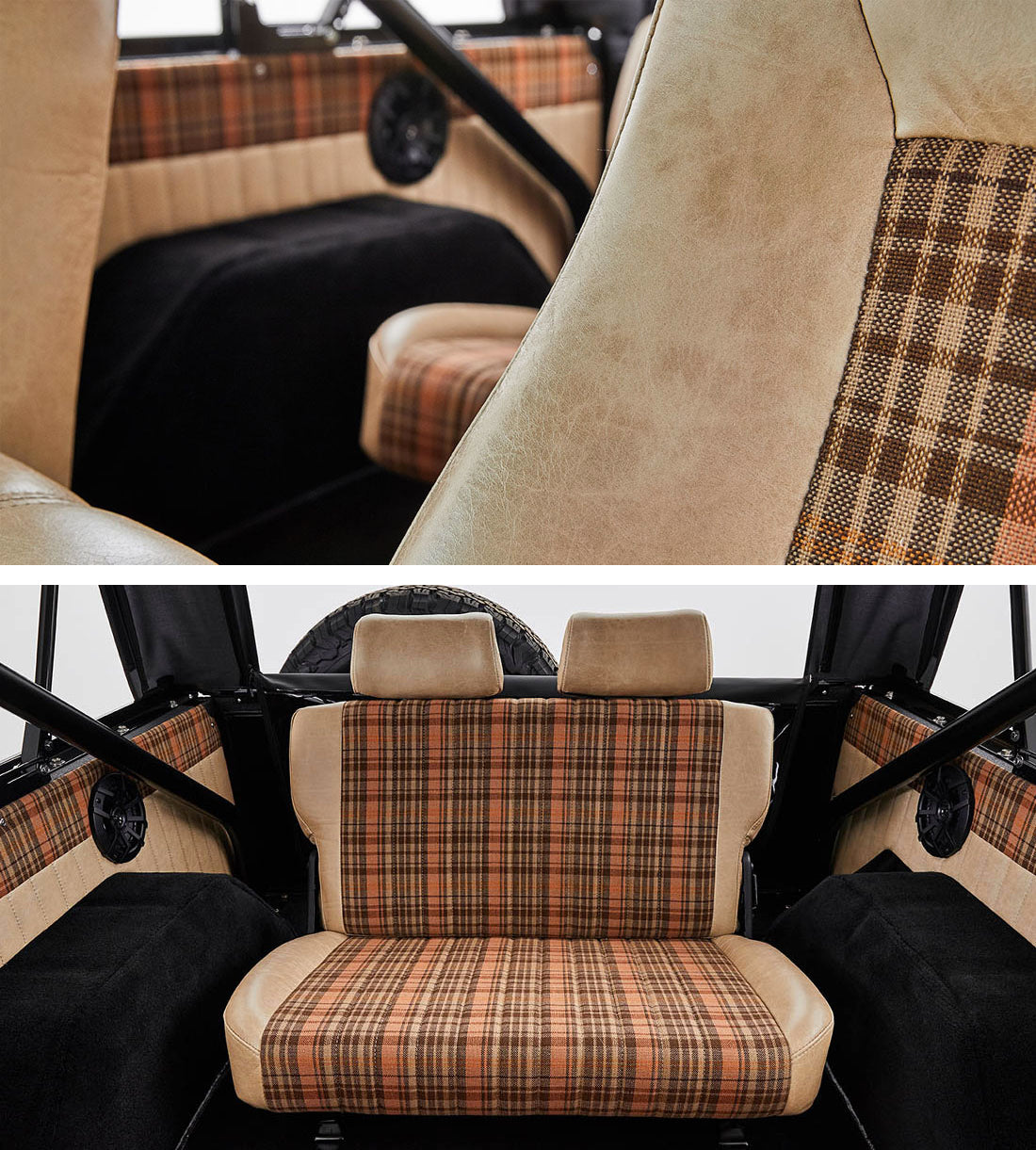 Classic Ford Broncos with Porsche Karo Madras plaid tartan seat fabric Relicate Leather Bench Seat