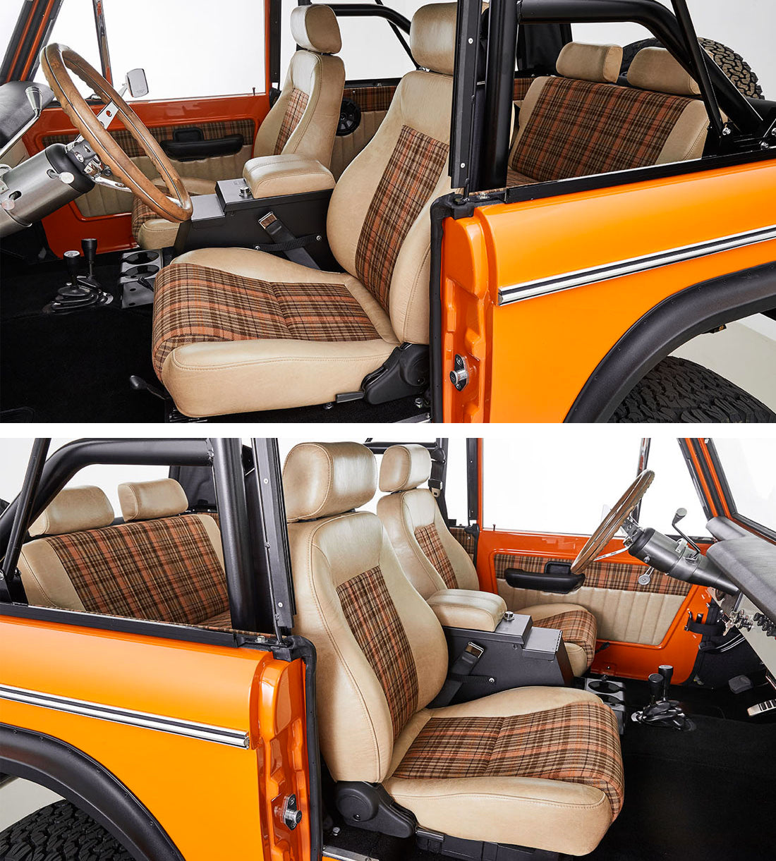 Classic Ford Broncos with Porsche Karo Madras plaid tartan seat fabric Relicate Leather
