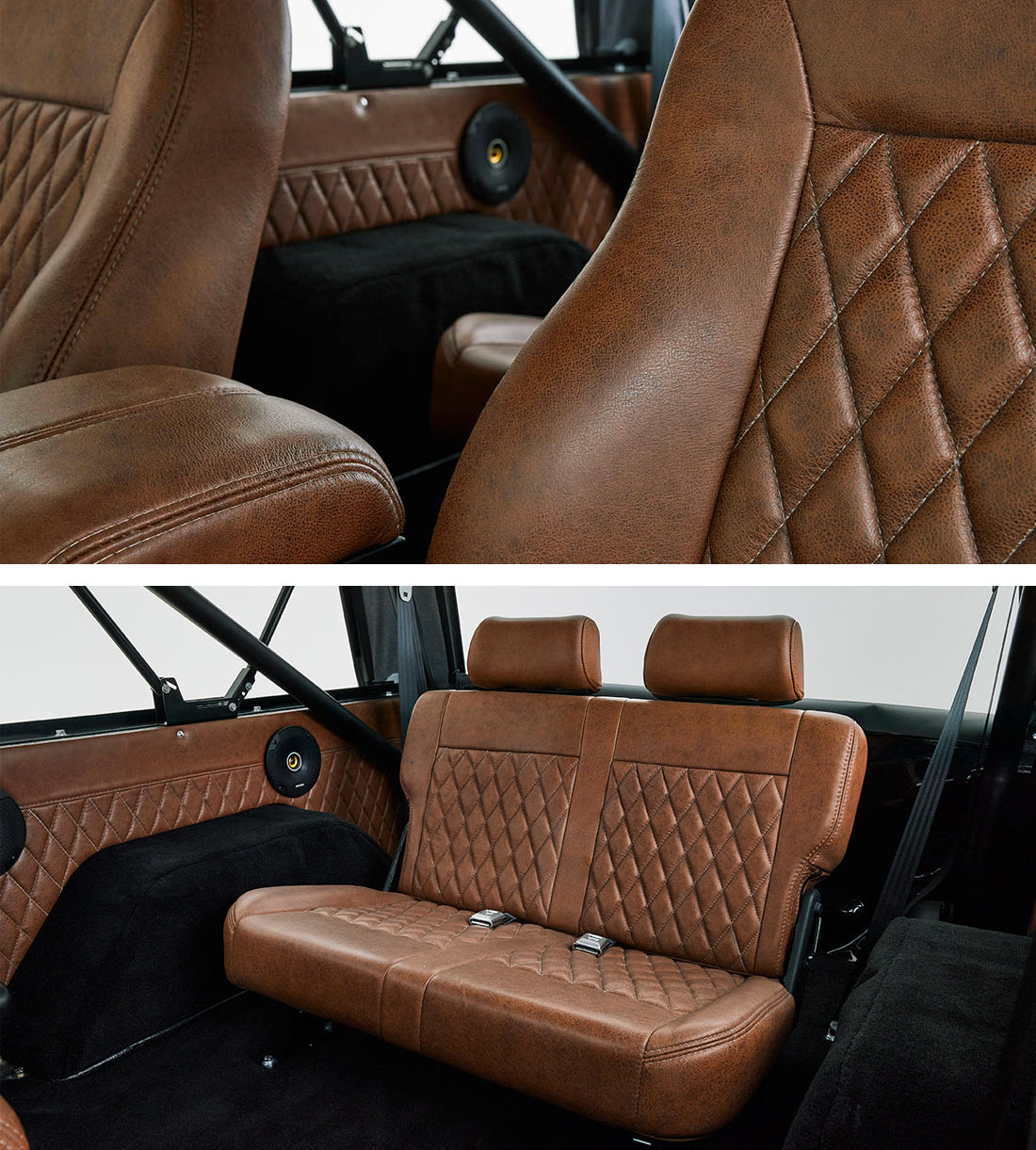 Classic_Ford_Broncos_Relicate_Vintage_Distressed_Saddle_Interior diamond stitched bench seat