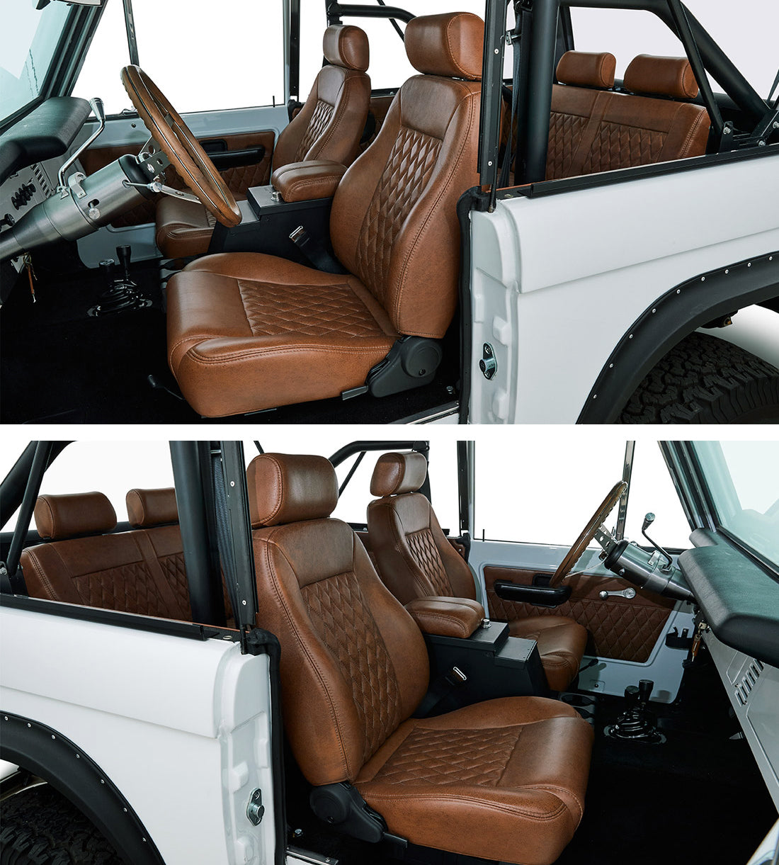 Classic_Ford_Broncos_Relicate_Vintage_Distressed_Saddle_Interior bucket seats