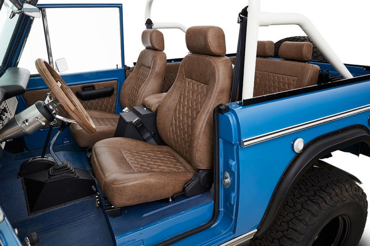 Classic Ford Broncos with Relicate Ancient Oak Vintage Distressed Leather interior bucket seats