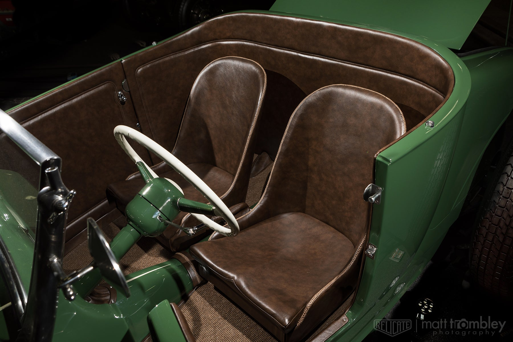 Relicate Antiqued Mocha Leather 1927 Ford Model T leather interior