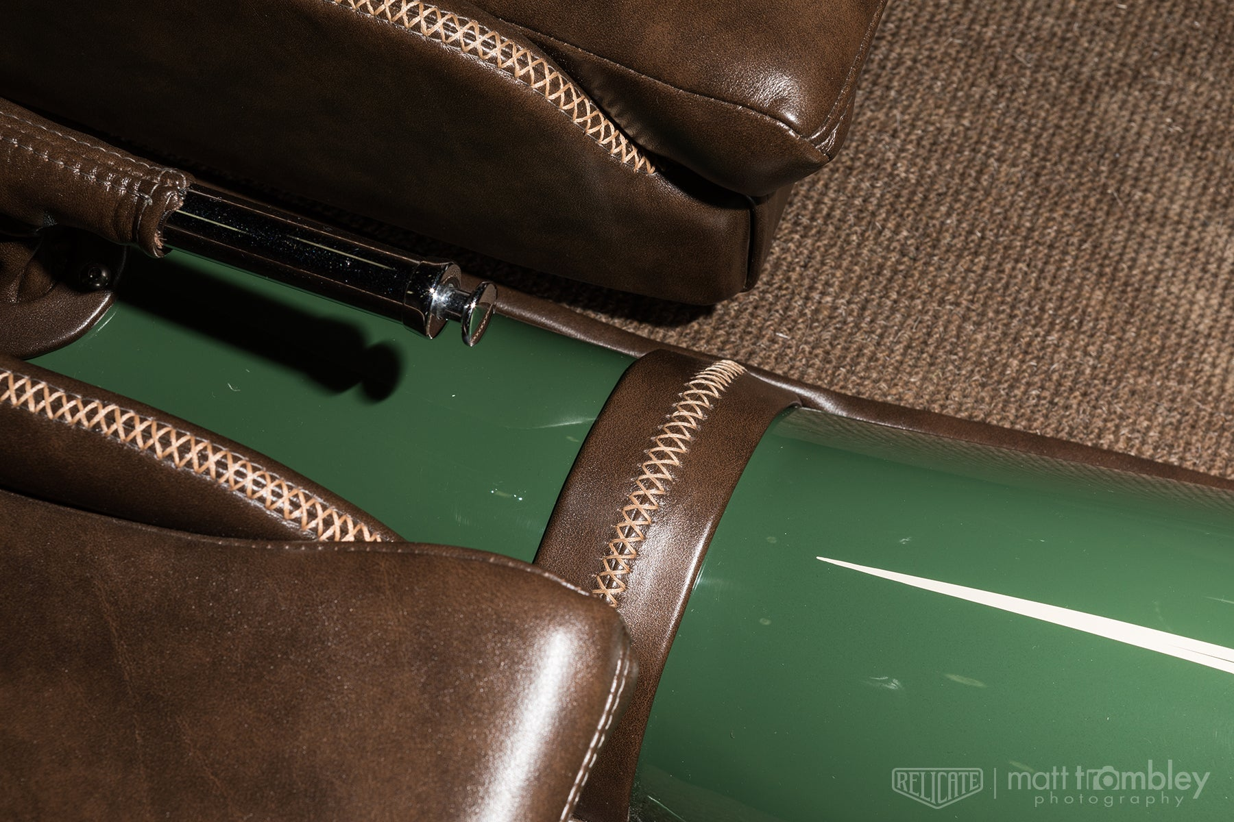 Relicate Antiqued Mocha Leather 1927 Ford Model T leather interior German Square Weave Automotive Carpet 503 Brown