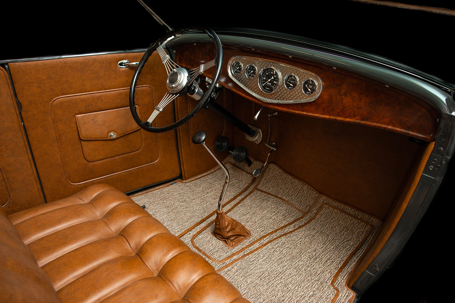 1932 Ford Roadster with Relicate Vintage Saddle Distressed Leather Dash gauges