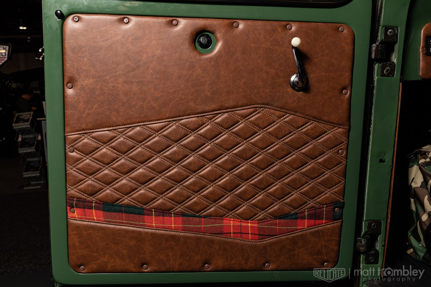 1951 willys jeep pickup relicate distressed leather plaid interior door panel