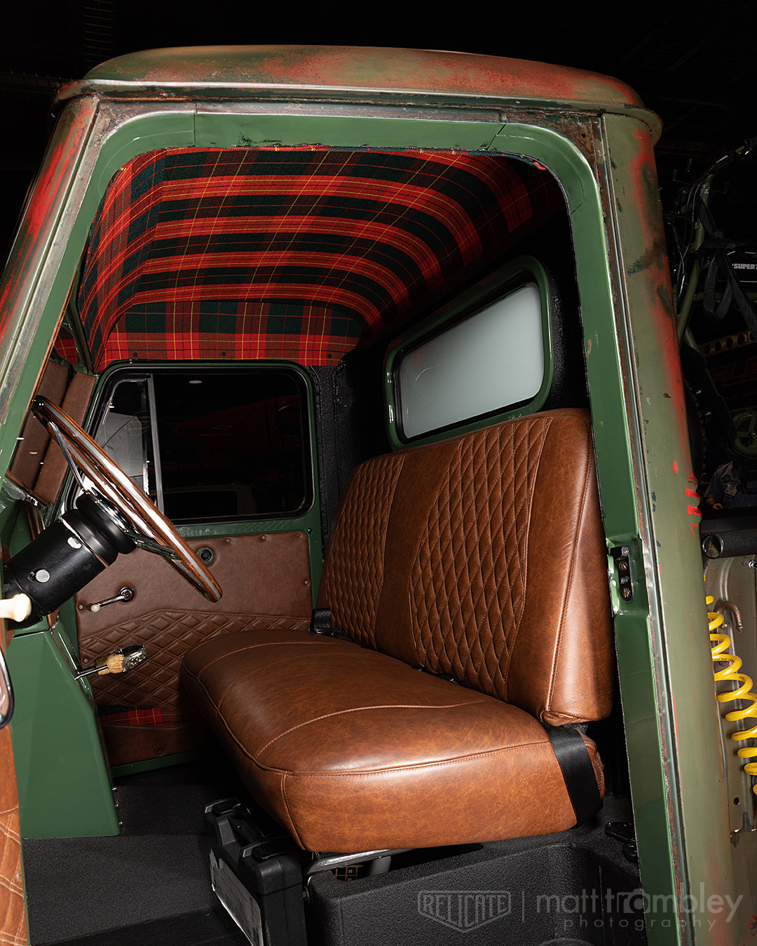 1951 willys jeep pickup relicate distressed leather plaid interior