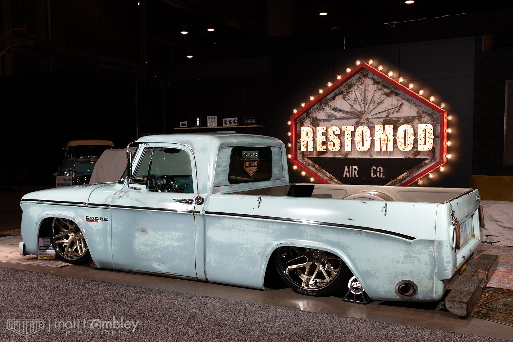 Relicate Distressed Vintage Oak Leather interior 1964 Dodge D100 pickup truck sema 2019 restomod air booth