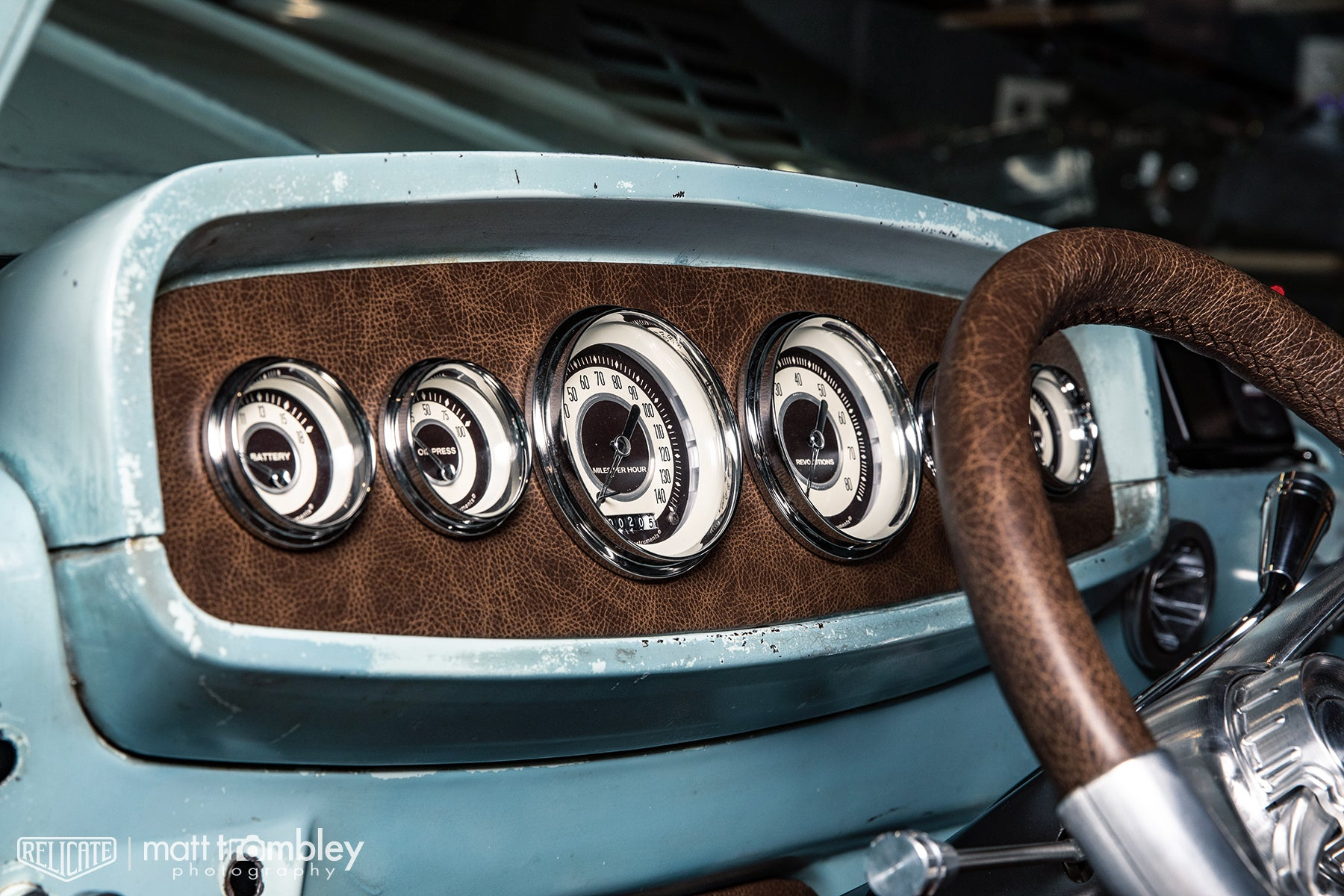 Classic Instruments gauges dash Relicate Distressed Vintage Oak Leather interior 1964 Dodge D100 pickup truck sema 2019 restomod air booth