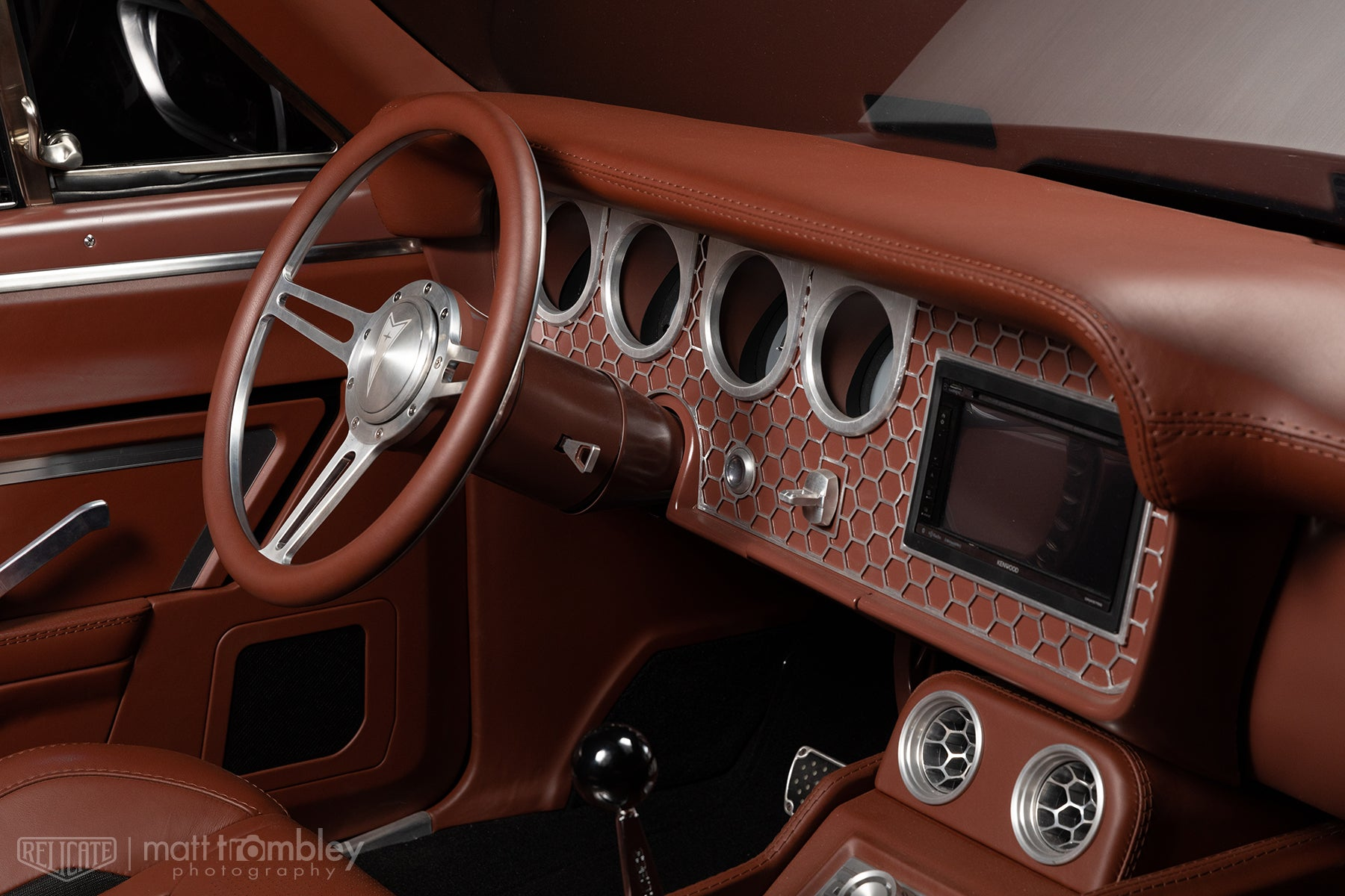 1966 Pontiac Lemans Convertible Relicate Full Grain Millbrook interior Bux Customs Sema 2019 Steering Wheel Dash