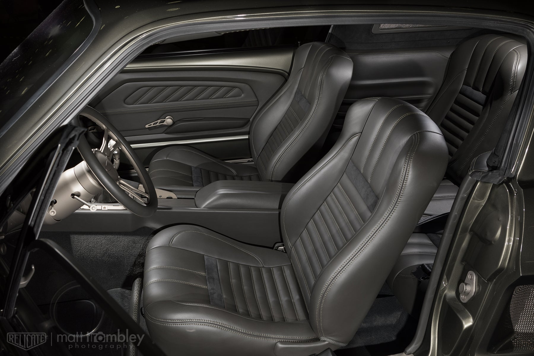 Relicate Leather 1967 Ford Mustang Interior with Alcantara Anthracite 6422