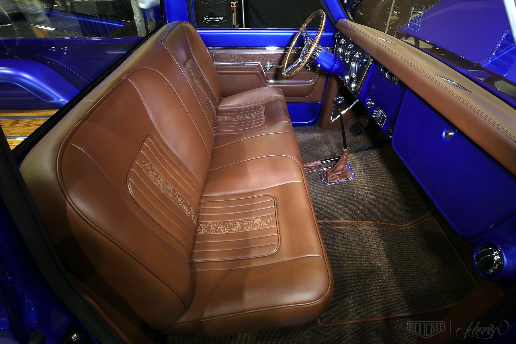 1970 Chevrolet C10 pickup truck with Relicate leather custom interior bench seat