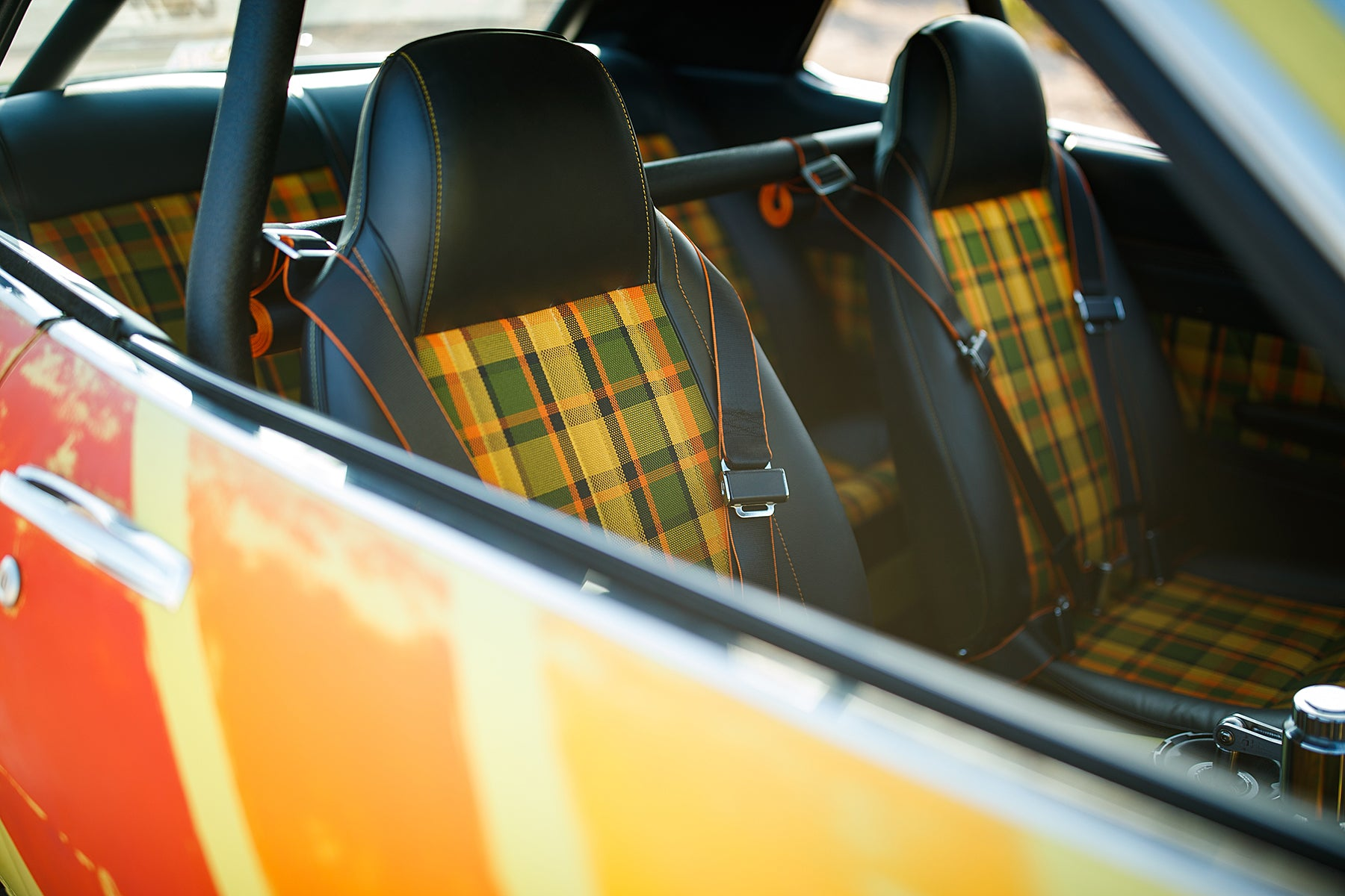 1973 Toyota Celica with Relicate Leather plaid interior JH restorations sema 2019