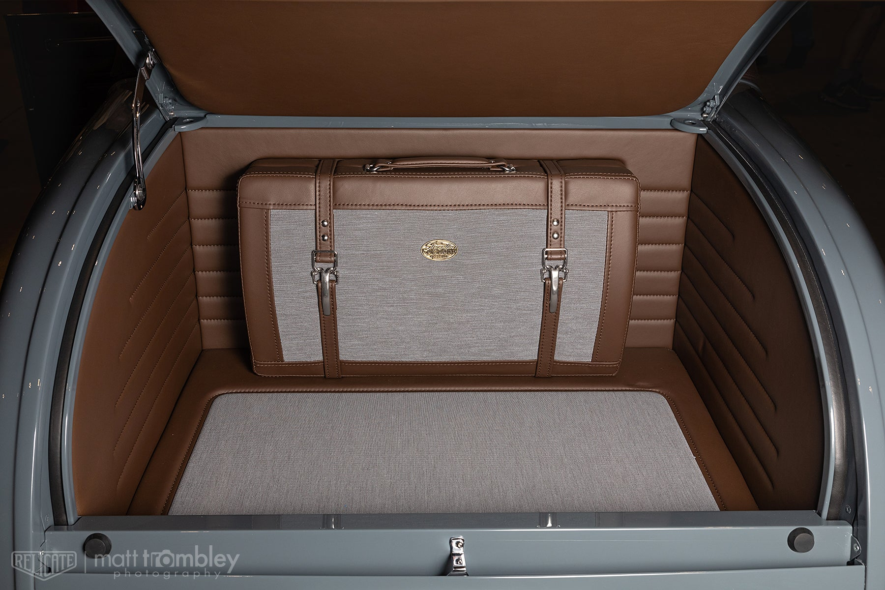 Relicate 1932 Ford leather interior trunk with luggage