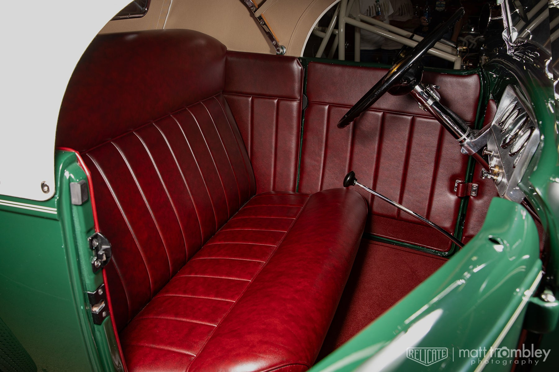 1932 Ford Roadster Nostalgia Ranch Relicate Antiqued Oxblood Leather Interior