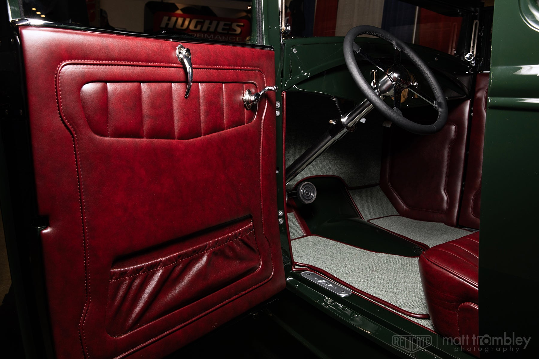 Hilton Hot Rods 1931 Ford Coupe with Relicate Leather Oxblood interior door panel