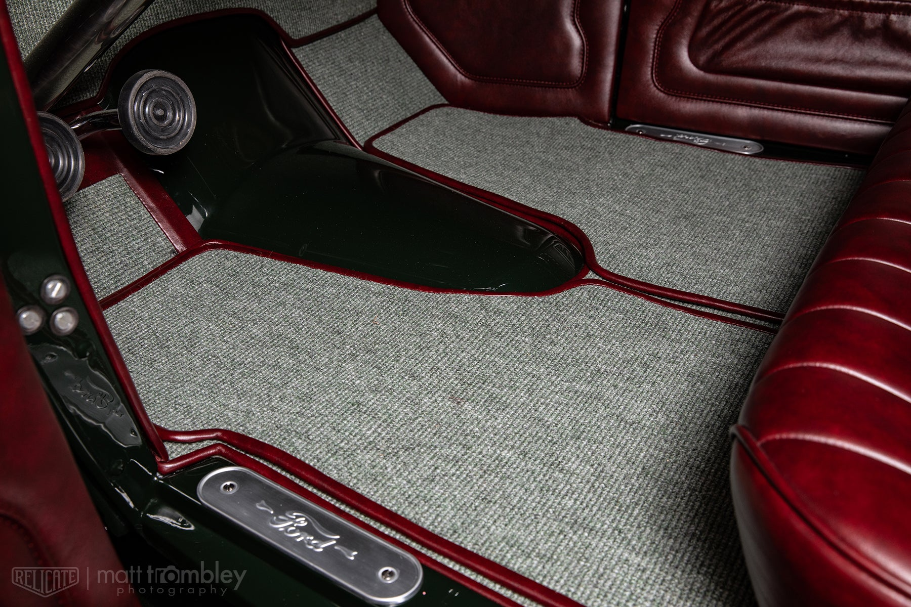 Hilton Hot Rods 1931 Ford Coupe with Relicate Leather Oxblood interior German square weave carpet