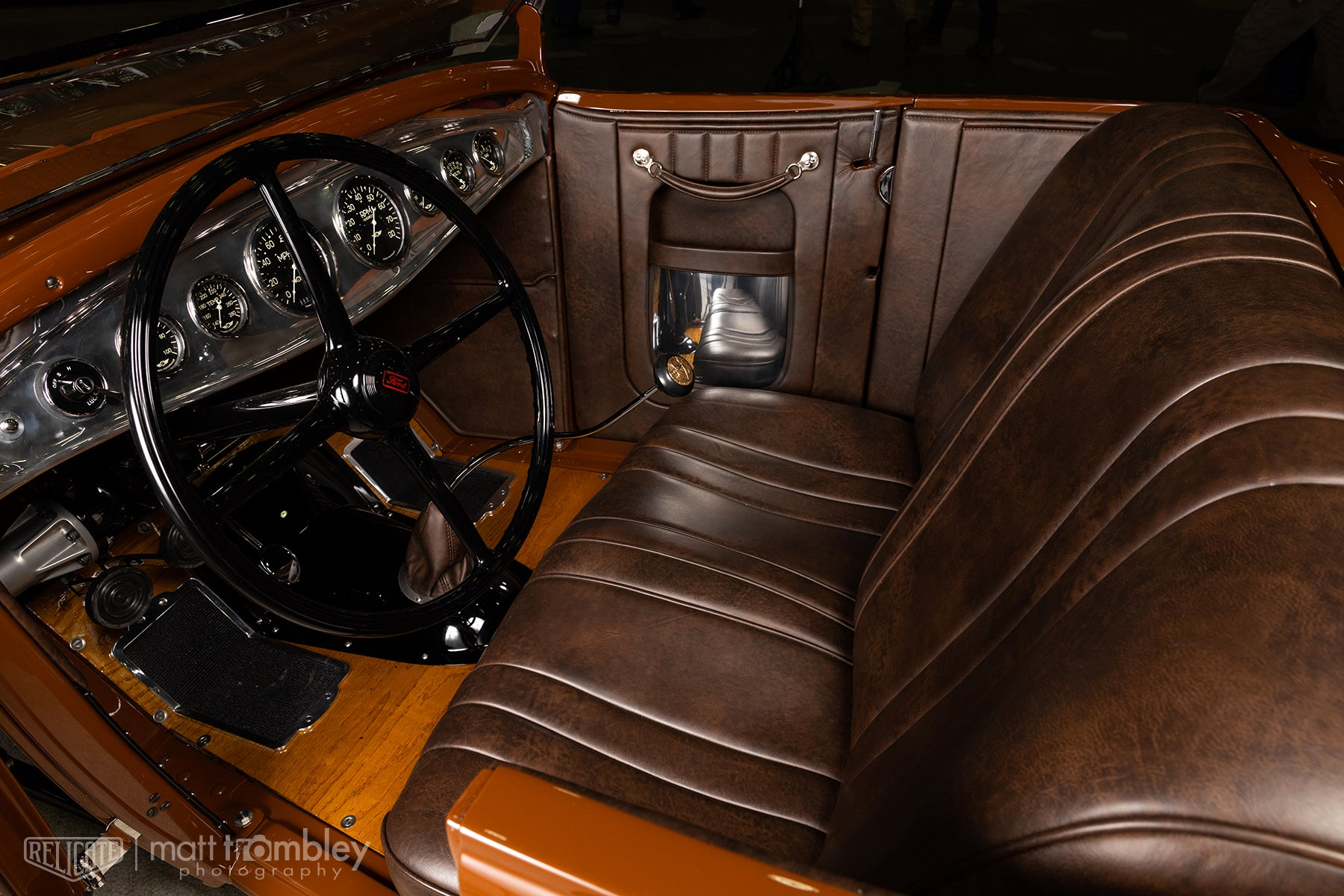 Full Grain Antiqued Relicate Leather Hilton Woods 1931 Ford Roadster Interior