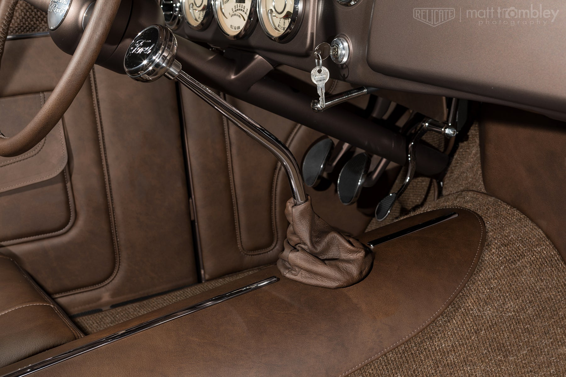 Relicate Antiqued Leather Interior Jason Graham Hot Rods 1934 Ford Pickup