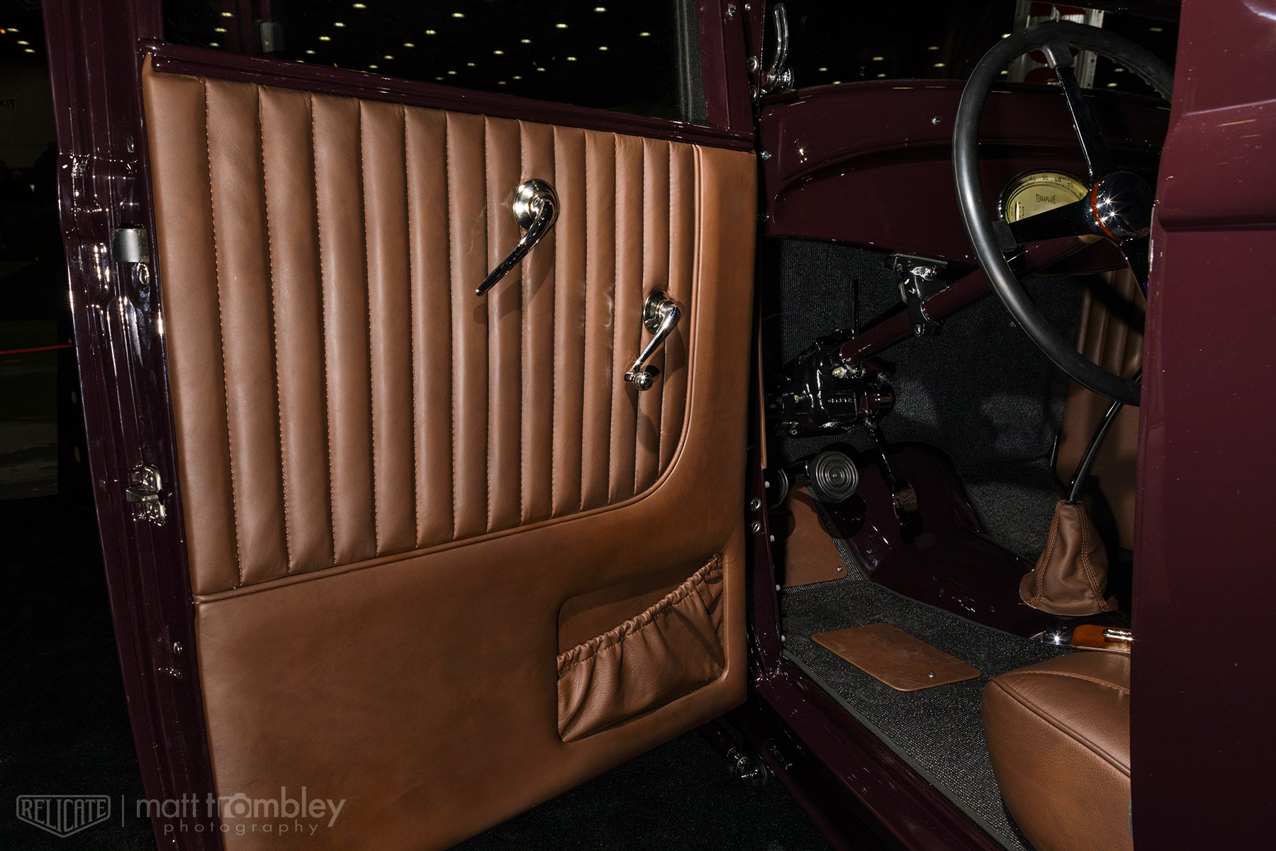 Relicate Leather 1932 Ford door panel Matte Antiqued Leather Interior Hilton Hot Rods